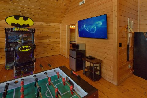 Large Screen TV in Game Room - Lookout Lodge