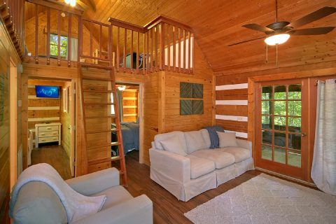 Cabin with Cozy Living Area and Loft Room - Mountain Moonlight