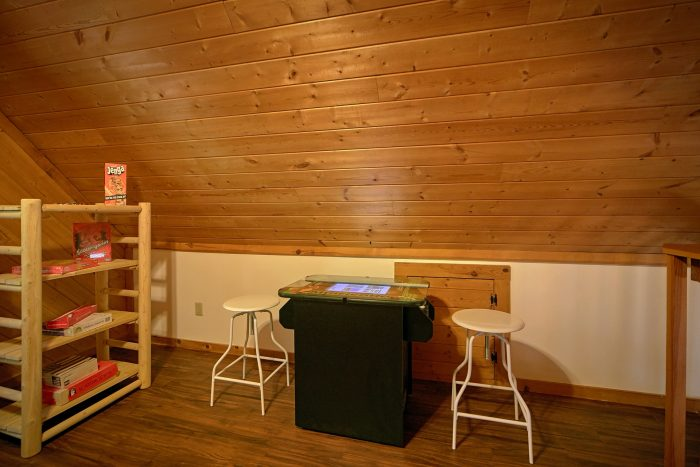 Arcade Game in Loft Game Room in Rustic Cabin - Mountain Moonlight