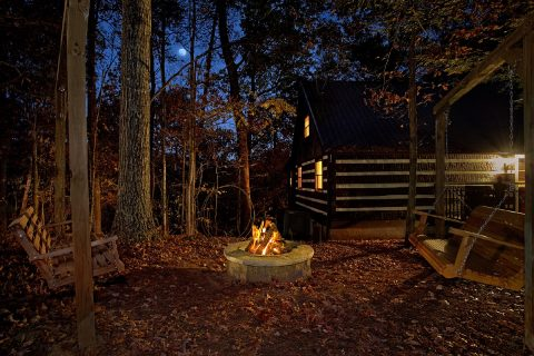 Rustic Cabin with Outdoor Fire Pit and Swings - Mountain Moonlight