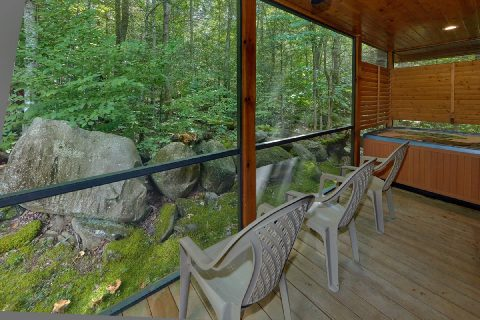 Screen in Porch with Chairs and Hot Tub - Noah's Getaway