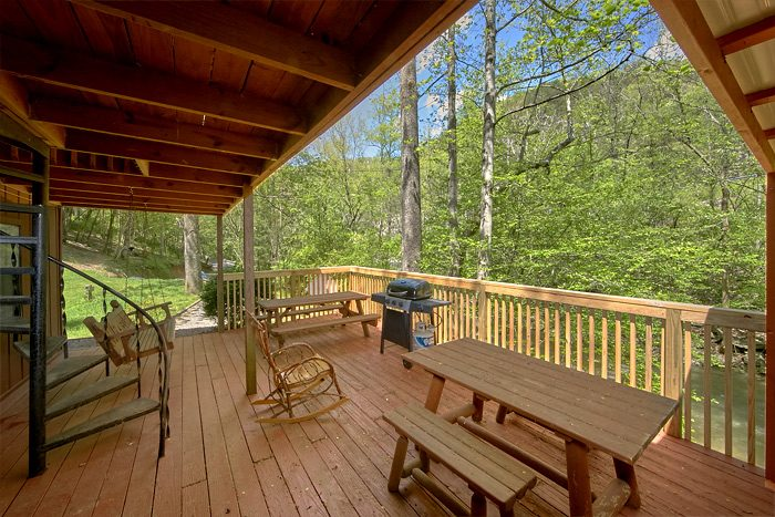 Rustic Cabin with porch swing and picnic table - On the Creek