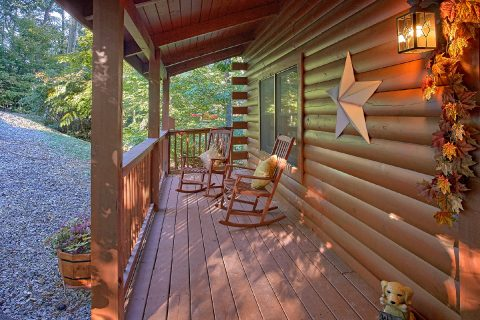 Pigeon Forge Cabin with Rocking Chairs on Deck - Our Happy Place
