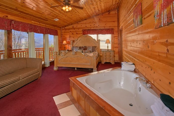Luxury Cabin with Private Jacuzzi Tub in Bedroom - Pool and a View Lodge