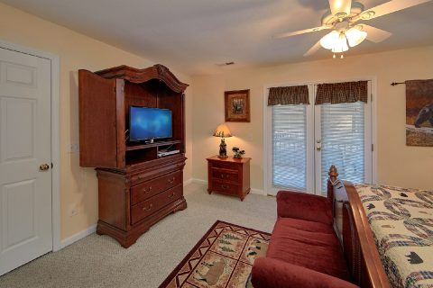 Master Bedroom with King Bed and Private Deck - River Chase