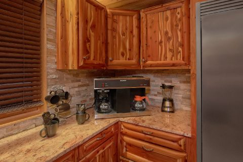 Kitchen in cabin with Commercial Coffee makers - River Mist Lodge