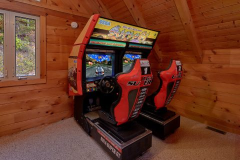 Cabin on the River with Race Car Arcade Games - River Paradise