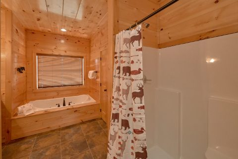 Jacuzzi Tub in Master Bath in 2 bedroom cabin - Rushing Waters