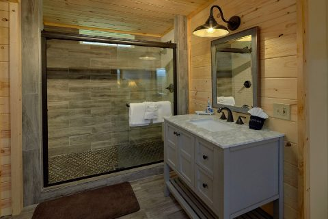 Luxurious shower in Master Bath at rental cabin - Sea of Clouds