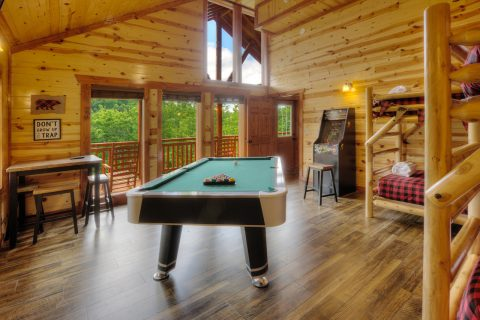 Pool Table, Foos Ball Arcade in Game Room - Smokey Ridge