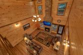 Luxury cabin with floor to ceiling fireplace