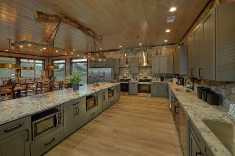 15 bedroom cabin kitchen with 3 microwaves - Smoky Mountain Masterpiece
