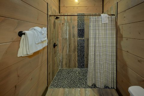Luxurious shower in 15 bedroom cabin Master Bath - Smoky Mountain Masterpiece