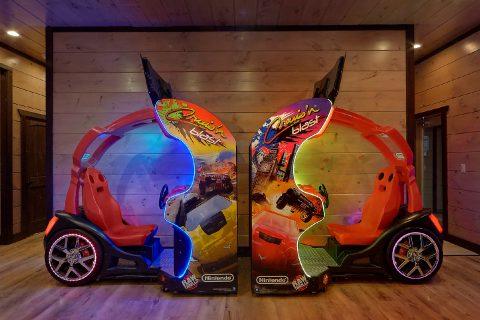 2 Race Car Arcade Games in 15 bedroom cabin - Smoky Mountain Masterpiece