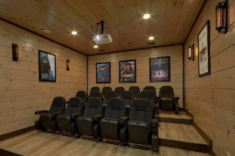Theater Room in 15 bedroom luxury cabin rental - Smoky Mountain Masterpiece