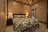 Rental cabin master bedroom with private deck