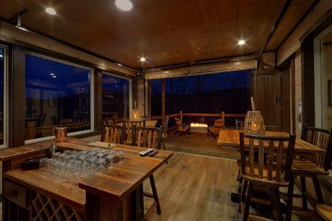 Bar with fire pits in 15 bedroom luxury cabin - Smoky Mountain Masterpiece