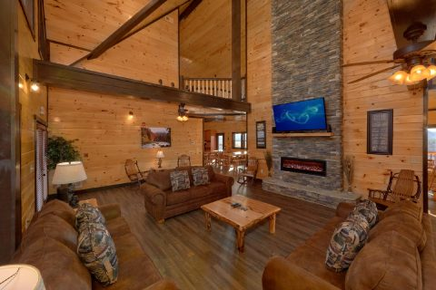 12 Bedroom Cabin with Stone fireplace - Smoky Mountain Memories