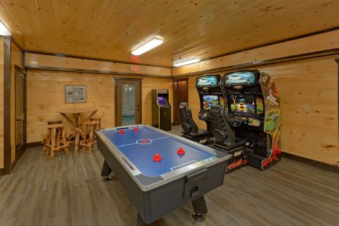 Air Hockey and Race Car Arcade games in cabin - Smoky Mountain Memories
