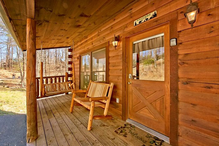 Cabin with porch swing - Starry Night