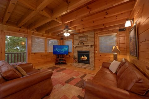 Living Room with Fireplace and Mountain View - Sugar and Spice