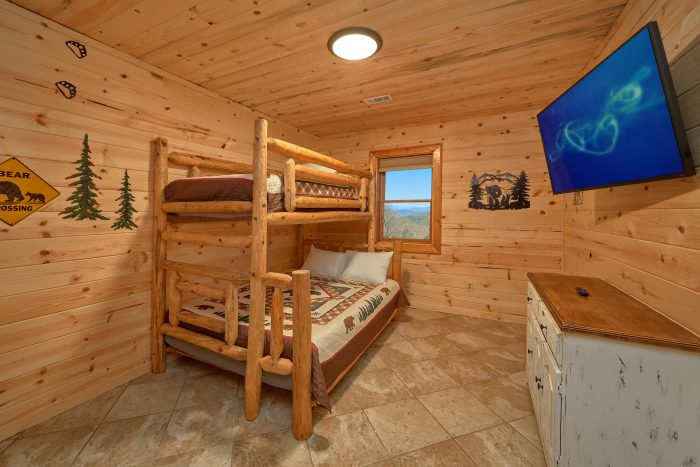 Lower Level Bedroom with Bunk Beds - Sugar Bear View