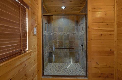 Luxurious shower in 9 bedroom rental cabin - Summit View Lodge