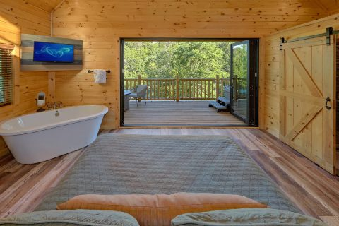 Luxurious bedroom with garden tub, TV and deck - Tennessee Treehouse