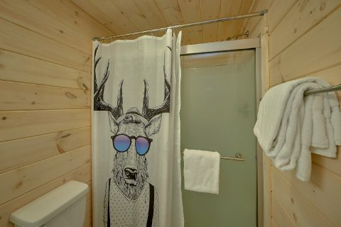 Full Bathroom in the Pool Area - The Bear and Buck