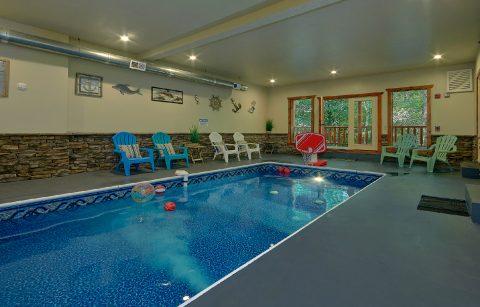 Private indoor pool in 11 bedroom rental cabin - The Big Lebowski