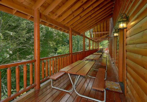 Pigeon Forge cabin with picnic tables on deck - The Big Lebowski