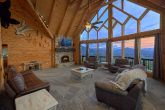 Luxury cabin with mountain view from living room