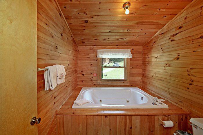 Jacuzzi Tub in Cabin Bathroom - Tucked Away