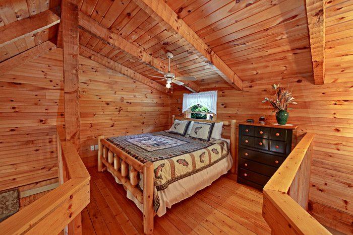 Queen Bed in Cabin Loft - Tucked Away