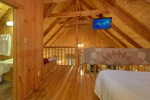 Loft bedroom with TV and Jacuzzi in cabin - Turtle Dovin'