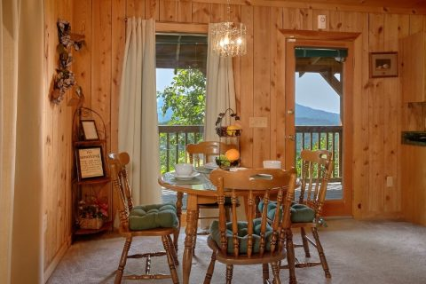 Dining Area with Mountain View in Rustic Cabin - Valley View
