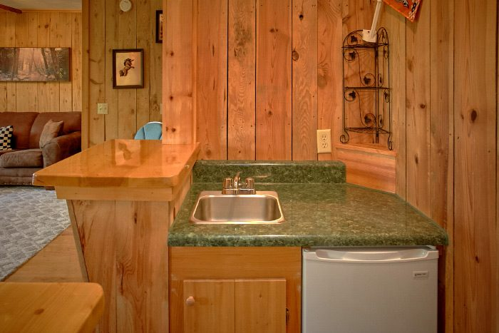 Rustic Cabin with Mini Kitchen in Game Room - Valley View