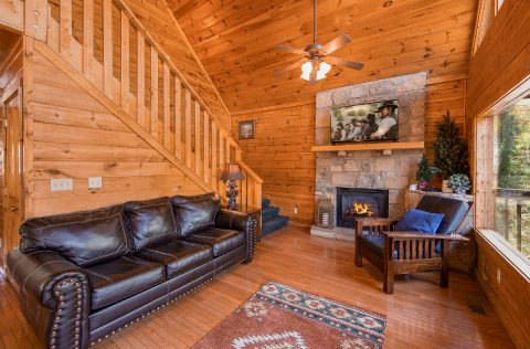 Cabin with Furnished Living Room and Fireplace - Wilderness Lodge